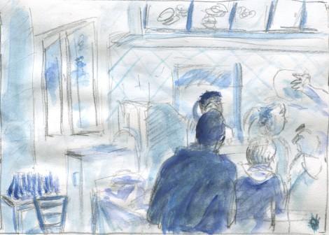 Chick Fil a Blue WC pencil sketch